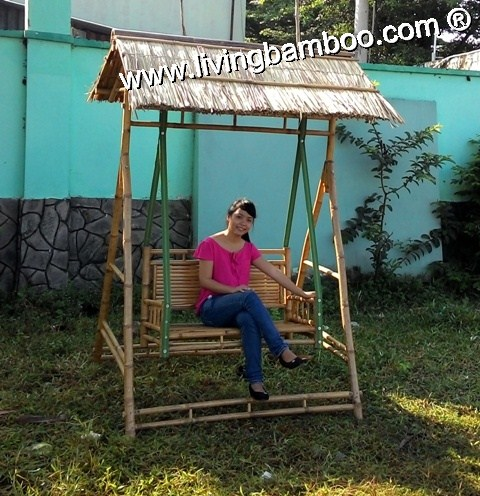 Bamboo Bench-SWING BENCH THATCH ROOF