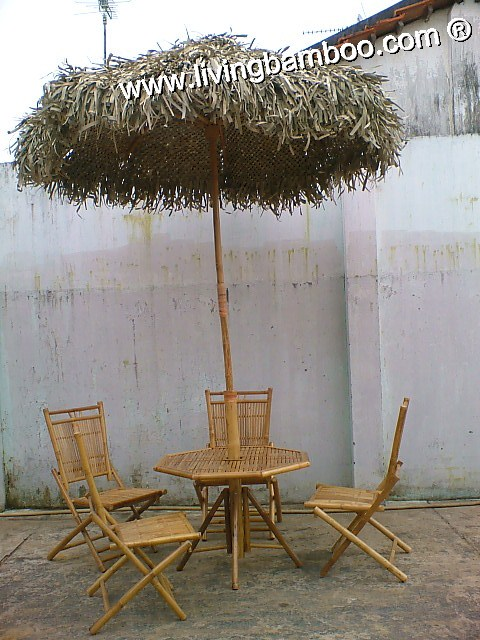 Bamboo Dining Set-ACTOR GRASS UMBRELLA SET