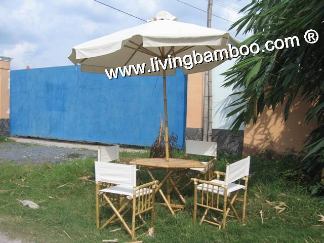Bamboo Dining Set-ACTOR CANVAS UMBRELLA SET