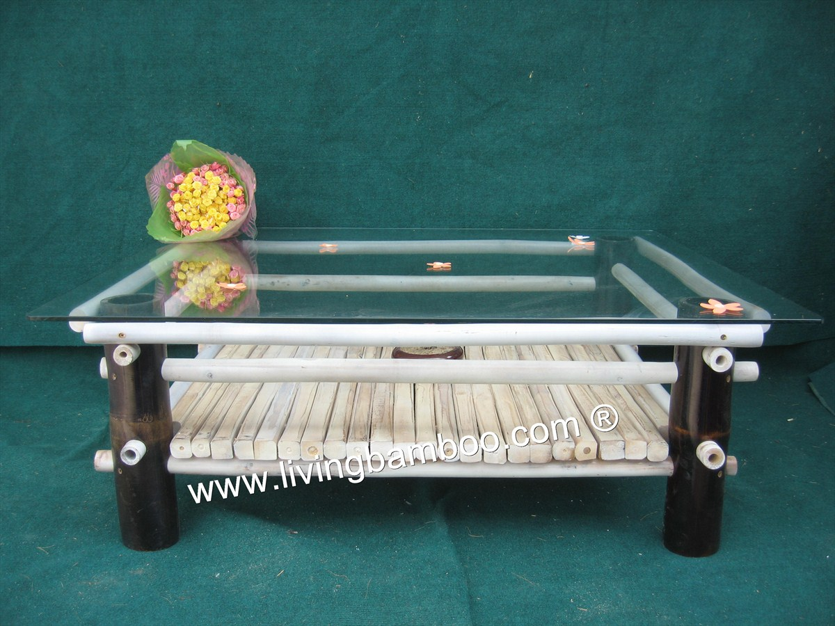 Bamboo Table-MODERN GLASS TABLE BLACK COLOR