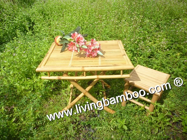 Bamboo Dining Set-COFFEE BAMBOO TABLE SET