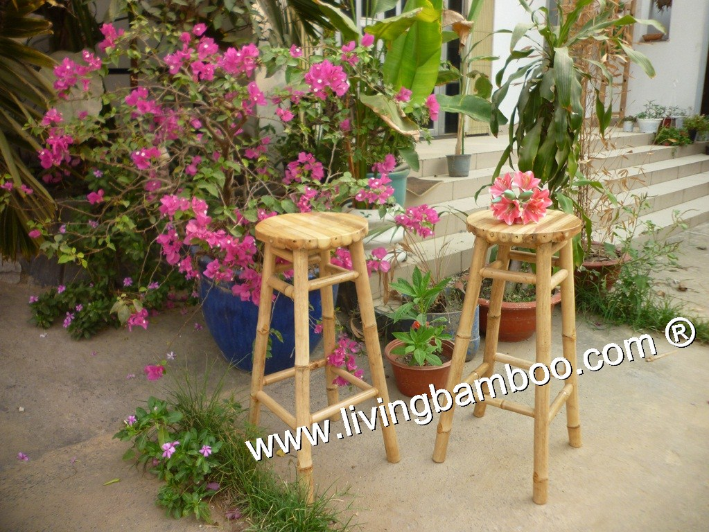 Bamboo Bar Chair and Stool, Bamboo Bar Chair & Stool-NINH CHU ROUND BAR STOOL