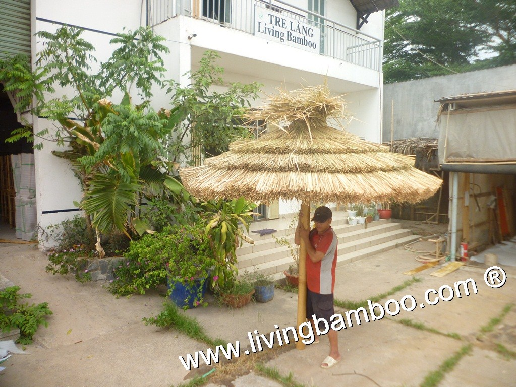 Bamboo Umbrella-CUT THATCH 4 STEPS UMBRELLA