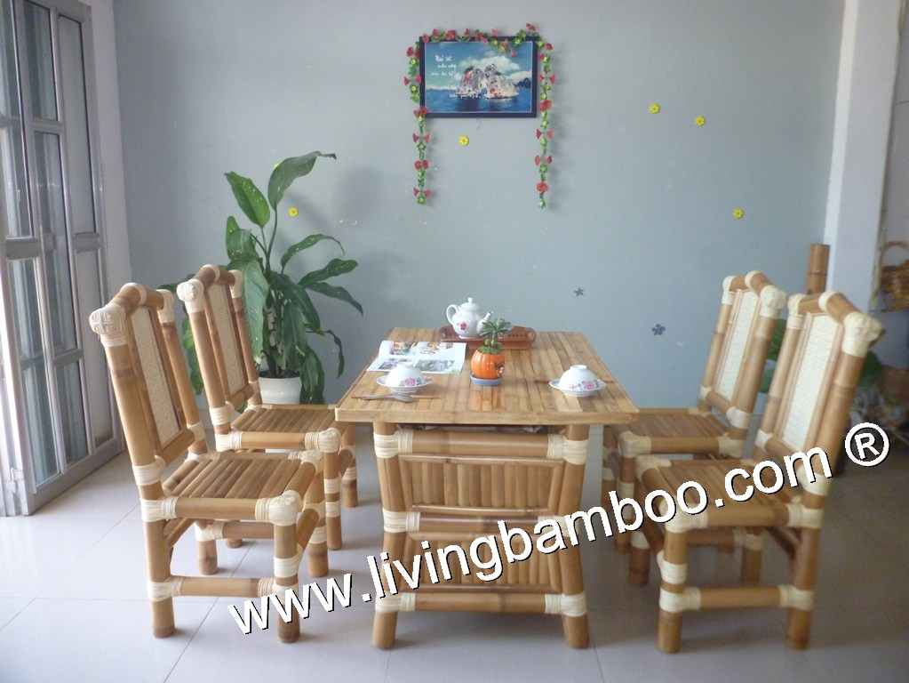 Bamboo Dining Room Spring Table Set